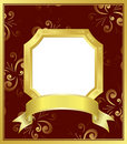 Golden frame with white center - vector Stock Photo