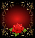 Golden frame wth rose Royalty Free Stock Photo
