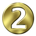 Golden Framed Number 2 Royalty Free Stock Photo