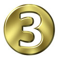 Golden Framed Number 3 Stock Photography