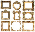 Golden frames baroque style antique objects collection of isolated on white background vintage background Stock Image