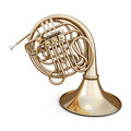 Golden french horn on a white Royalty Free Stock Photo