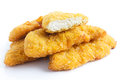 Golden fried chicken strips on white Royalty Free Stock Photography