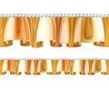 Golden frill ruffle with diamonds seamless horizontal border Stock Photography