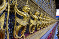 Golden garuda at the wat phra kaew temple at the grand palace in bangkok thailand public Stock Photos