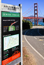 Golden gate bridge bike trail sign san francisco bicycle route also known as the battery east one of several recreational Royalty Free Stock Images