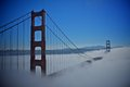 Golden gate bridge with the fog Royalty Free Stock Photo