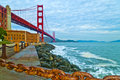 Golden Gate Bridge at Fort Point Stock Photo