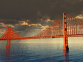 Golden gate bridge illustration d Stock Photo
