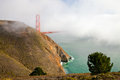 Golden gate bridge in the mist san francisco bay Stock Photography
