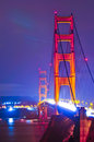 Golden Gate Bridge at night Stock Photo