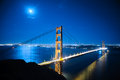 Golden Gate Bridge at night Royalty Free Stock Photo
