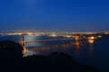 Golden gate bridge at night san francisco usa with city skyline back ground california Royalty Free Stock Photos