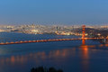Golden gate bridge at night san francisco usa with city skyline back ground california Stock Image