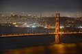 Golden gate bridge at night san francisco usa with city skyline back ground california Royalty Free Stock Image
