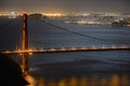 Golden gate bridge at night san francisco usa with city skyline back ground california Royalty Free Stock Photo
