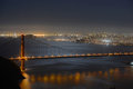 Golden gate bridge at night san francisco usa with city skyline back ground california Royalty Free Stock Images