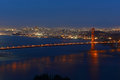 Golden gate bridge at night san francisco usa with city skyline back ground california Stock Images