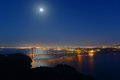 Golden gate bridge at night san francisco usa full moon with city skyline back ground california Stock Photography