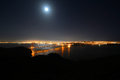Golden gate bridge at night san francisco usa full moon with city skyline back ground california Stock Photo