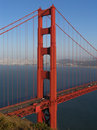 Golden Gate Bridge Northern Tower Centered Stock Photo