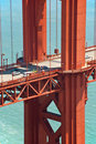 Golden Gate Bridge pillar in San Francisco Stock Photos