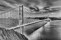 Golden Gate Bridge in San Fracisco City Black and White Royalty Free Stock Photo