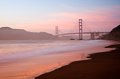 Golden gate bridge san francisco at dusk the in photographed with baker beach visible in the foreground Royalty Free Stock Photography