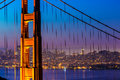 Golden gate bridge san francisco sunset through cables view in california usa Royalty Free Stock Image