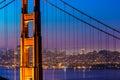 Golden Gate Bridge San Francisco sunset through cables Royalty Free Stock Photo