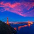 Golden Gate Bridge San Francisco sunset California Royalty Free Stock Photo