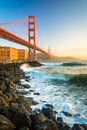 The Golden Gate Bridge, seen at sunrise from Fort Point Royalty Free Stock Photo