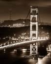 Golden gate bridge the south tower of at night in black and white Royalty Free Stock Photography