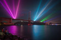 Golden gate bridge th anniversary laser light show at night on the to celebrate the Royalty Free Stock Photography