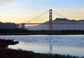 Golden gate bridge und die sumpfgebiete bei crissy field Lizenzfreies Stockfoto