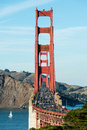 Golden Gate Bridge Vertical with Traffic Royalty Free Stock Photo