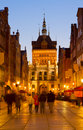 Golden gate at night gdansk poland in old town Royalty Free Stock Photography