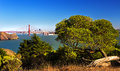 Golden gate view on san francisco from bicentennial campground Royalty Free Stock Photos
