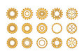 Golden Gears Icon Set Royalty Free Stock Photo
