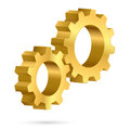 Golden gearwheel illustration on white background for design Royalty Free Stock Photo