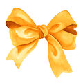 Golden Gift bow. Watercolor illustration