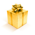 Golden gift box isolated on white background Royalty Free Stock Photo