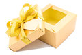 Golden gift box open up white background Stock Photo