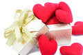 Golden gift box and red heart. Royalty Free Stock Photo