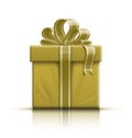 Golden gift box with ribbon and bow vector illustration Stock Images