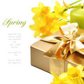 Golden gift box with springtime narcissus Royalty Free Stock Photo