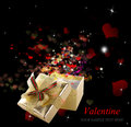Golden gift box in valentine day holiday border Stock Photography