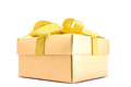 Golden gift box white background Royalty Free Stock Image