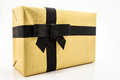 Golden gift box on white background Royalty Free Stock Image
