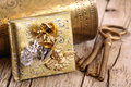 Golden gift with keys Royalty Free Stock Photo